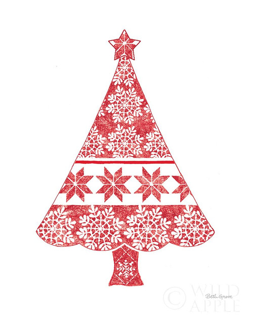 Nordic Holiday Christmas Tree Poster Print by Beth Grove # 59208