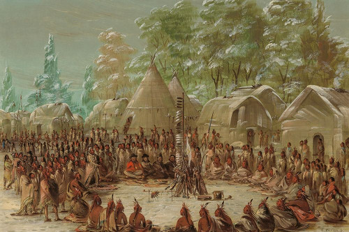 La Salles Party Feasted in the Illinois Village January 2, 1680 Poster Print by George Catlin # 56088