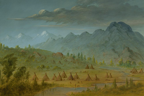 A Crow Village and the Salmon River Mountains Poster Print by George Catlin # 56077