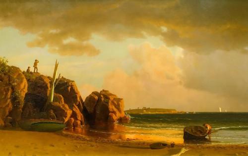 View Near Newport Poster Print by Albert Bierstadt # 55982