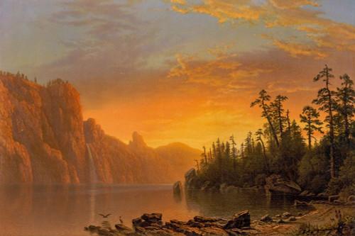 Sunset California scenery Poster Print by Albert Bierstadt # 55989