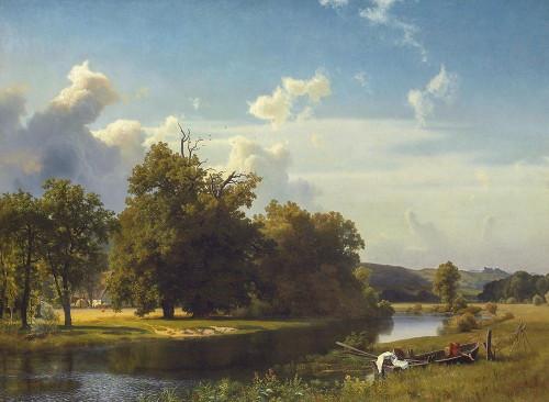 A River Landscape, Westphalia Poster Print by Albert Bierstadt # 55867