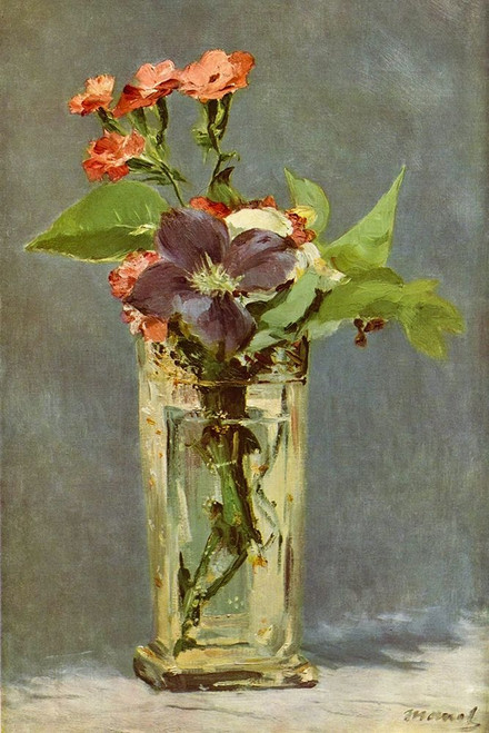 Carnations and clematis in a crystal vase Poster Print by Edouard Manet # 56504