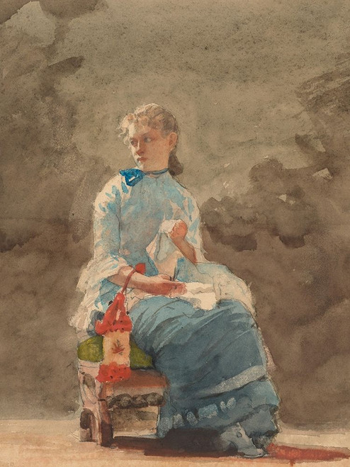 Young Woman Sewing Poster Print by Winslow Homer # 55662