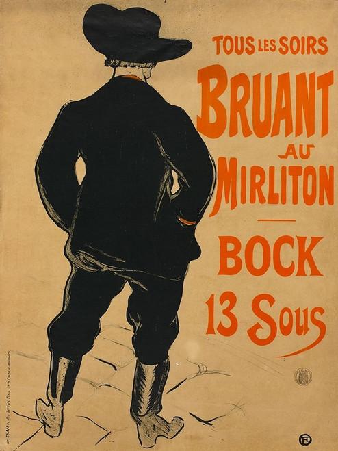 Aristide Bruant Poster Print by Henri de Toulouse-Lautrec # 56378