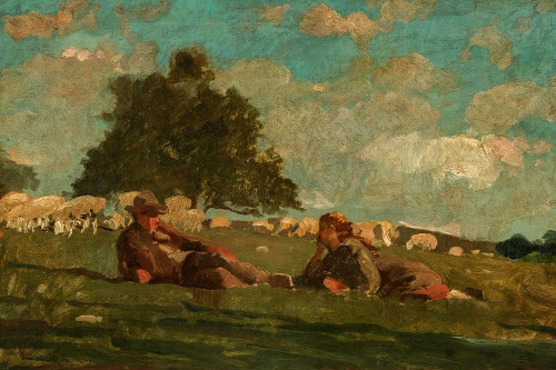 Boy and Girl in a Field with Sheep Poster Print by Winslow Homer # 56261
