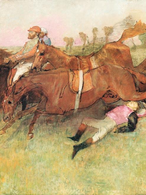 Scene from the Steeplechase: The Fallen Jockey Poster Print by Edgar Degas # 55458
