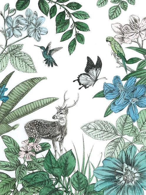 Deer and Flowers Poster Print by Amelia Ilangaratne # 55536
