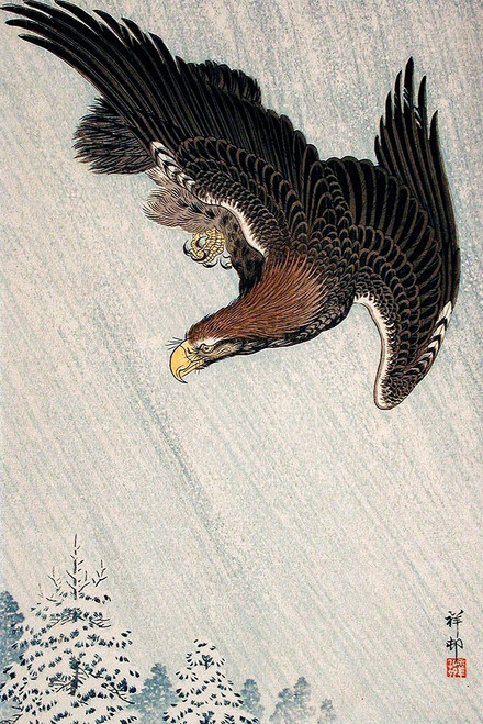 Eagle Flying in Snow Poster Print by Ohara Koson # 55356