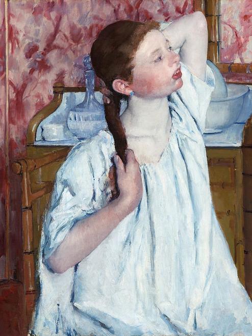 Girl Arranging Her Hair Poster Print by Mary Cassatt # 55381