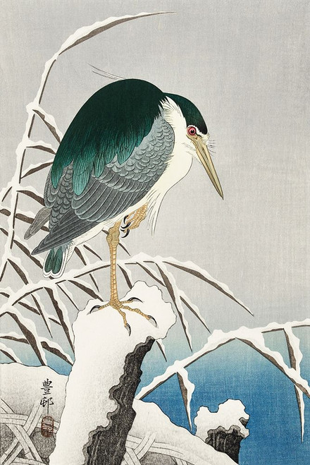 Heron in snow Poster Print by Ohara Koson # 55168