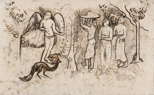Angel, Peacock, and Three Tahitians Poster Print by Paul Gaugin # 54511