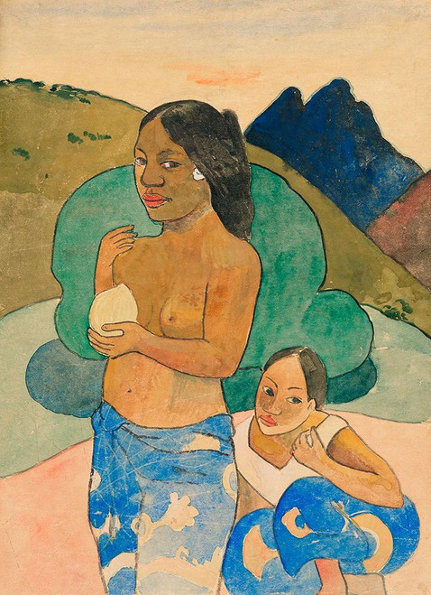Two Tahitian Women in a Landscape Poster Print by Paul Gaugin # 54458