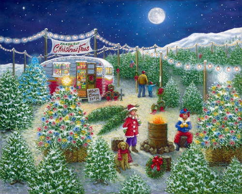 A LOT of Christmas Trees Poster Print by Janet Kruskamp # 54430