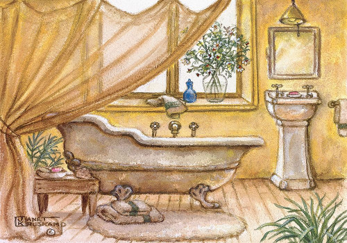 Vintage Bathtub II Poster Print by Janet Kruskamp # 54177