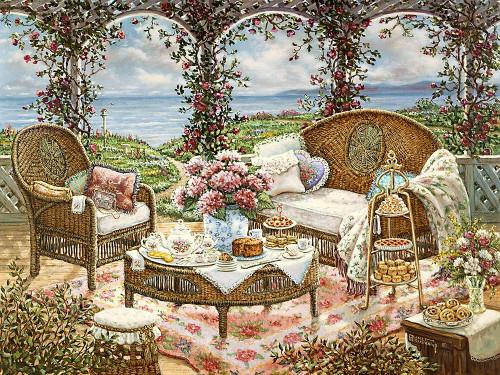 Afternoon Tea Poster Print by Janet Kruskamp # 54105