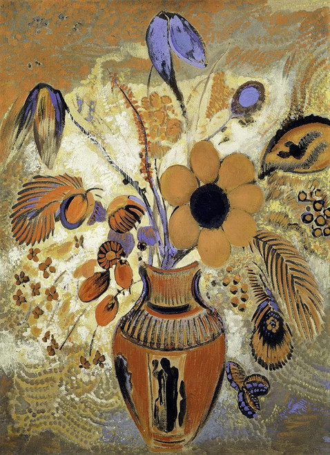 Etruscan Vase with Flowers Poster Print by Odilon Redon # 54015