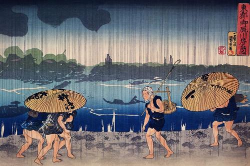 People Walking Beneath Umbrellas Along the Seashore During a Rainstorm Poster Print by Utagawa Kuniyoshi # 54796