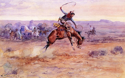 Bucking Bronco Poster Print by M Russell # 54599