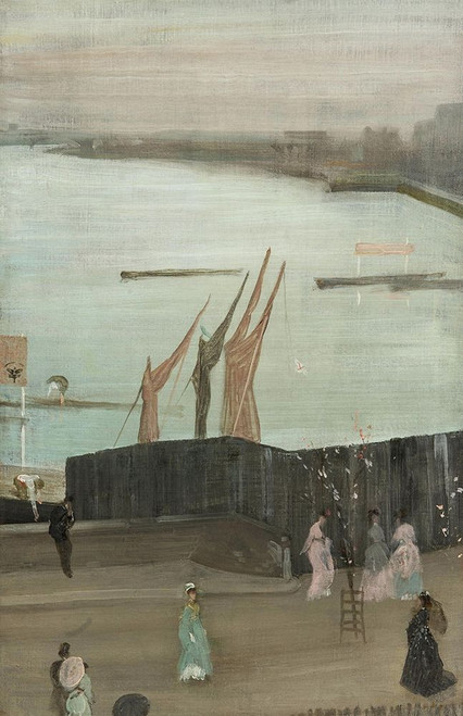 Variations in Pink and Grey, Chelsea Poster Print by James McNeill Whistler # 54682