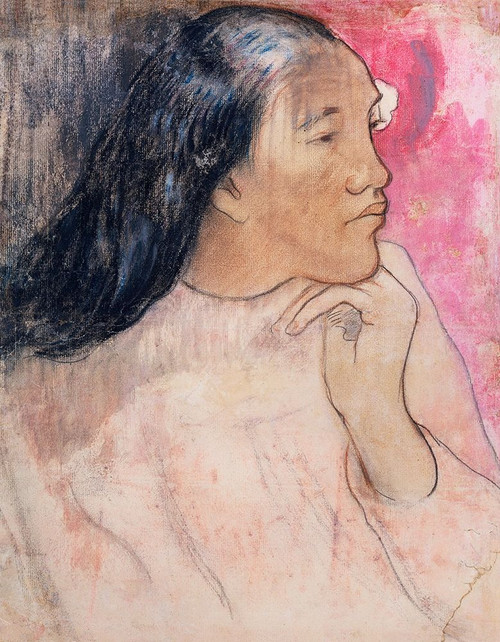 A Tahitian Woman with a Flower in Her Hair�_ Poster Print by Paul Gaugin # 54552