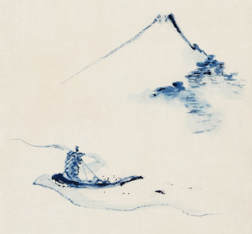 A Person in a Small Boat on a River with Mount Fuji in the Background�_ Poster Print by Katsushika Hokusai # 54580