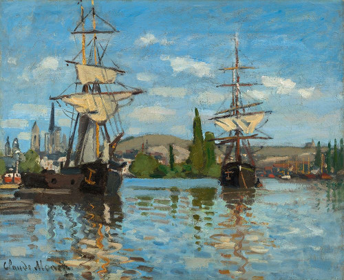 Ships Riding on the Seine at Rouen Poster Print by Claude Monet # 53132
