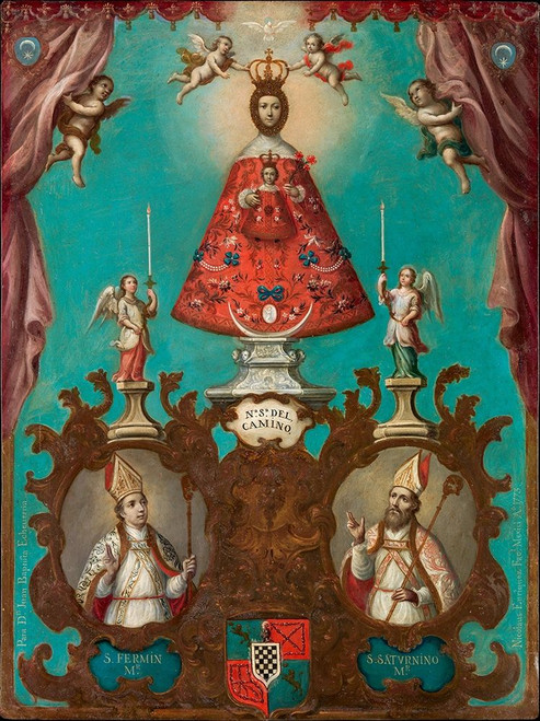 The Virgin of El Camino with St Ferm�_n and St Saturnino Poster Print by Nicolas Enr�_quez # 52931