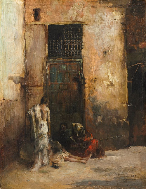 Beggars by a Door Poster Print by Mariono Fortuny y Carbo # 50591