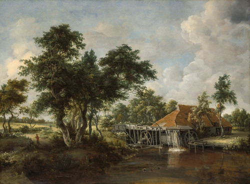 The Watermill with the Great Red Roof 1665 Poster Print by Meindert Hobbema # 50725