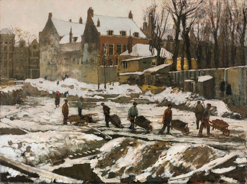 Construction Site in Amsterdam Poster Print by George Hendrik Breitner # 50443