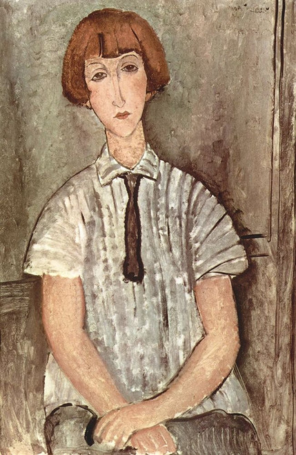 Seated woman with tie Poster Print by Amedeo Modigliani # 50935