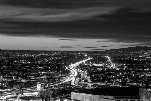 Dusk skyline view of Los Angeles California looking west over the Santa Monica freeway Poster Print by Carol Highsmith # 50100