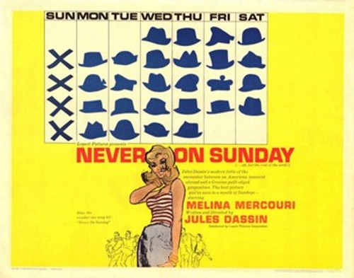 Never on Sunday Movie Poster (17 x 11) - Item # MOV220344