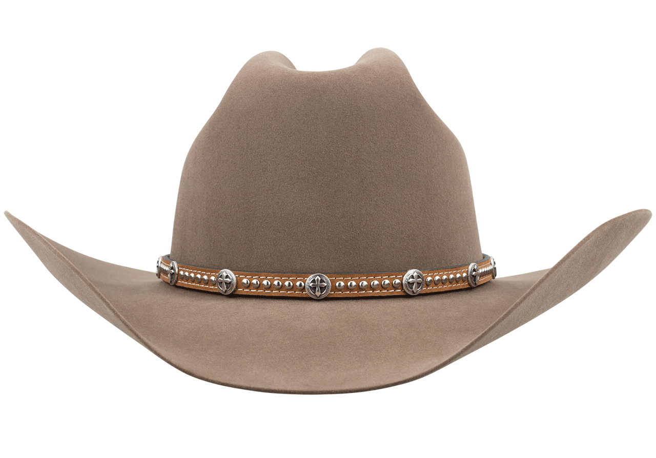 Concho Cross Leather and Silvertone Studded Hat Band