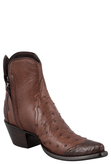 Stallion Women's Zorro Tobacco Ostrich and Caiman Wingtip Ankle Boots - Hero