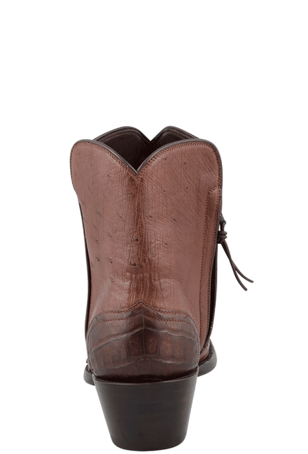 Stallion Women's Zorro Tobacco Ostrich and Caiman Wingtip Ankle Boots - Back