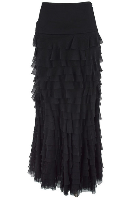 Vintage Collection Mermaid Tiered Mesh Skirt -Black - Back
