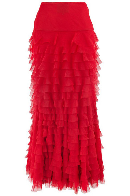 Vintage Collection Mermaid Tiered Mesh Skirt - Red - Back