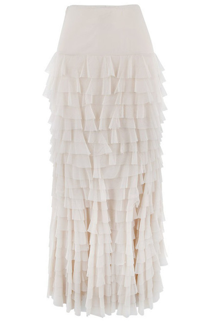 Vintage Collection Mermaid Tiered Mesh Skirt -Ivory - Back
