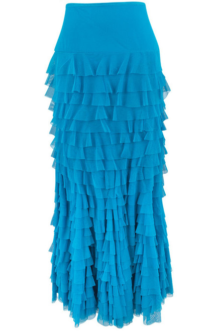 Vintage Collection Mermaid Tiered Mesh Skirt -Turquoise - Back
