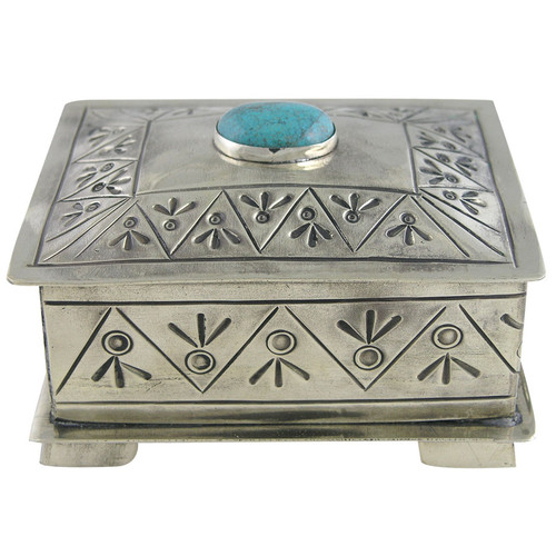 Home - Silver Stamped Box with Turquoise Stone - Front