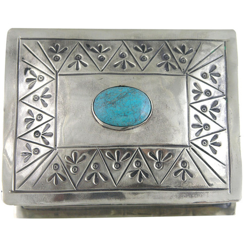 Home - Silver Stamped Box with Turquoise Stone - Top