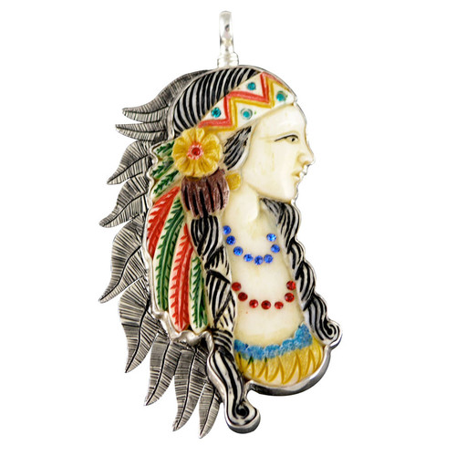 Charm - Indian Maiden Charm W/Stones - Large