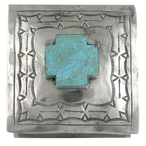 Home - Silver Stamped Box with Cross - Top