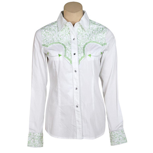"""""""Green"""" Embroidered Western Snap Shirt"""