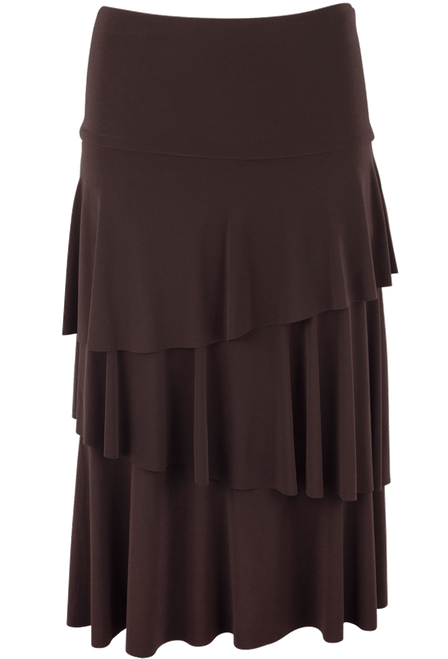 Last Tango Layered Ruffle Skirt - Brown- Front