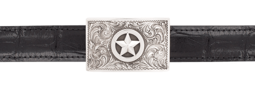 """Pinto Ranch 3D Silver Star 1"""" Trophy Buckle"""
