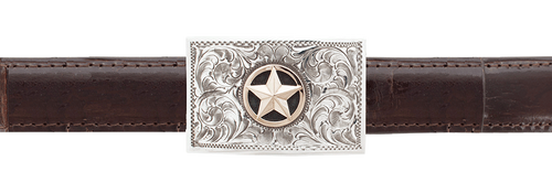 "Pinto Ranch 3D 14K Gold Star 1"" Trophy Buckle"