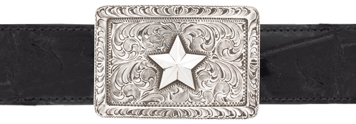 """Pinto Ranch Sterling Silver Star 1 1/2"""" Trophy Buckle"""